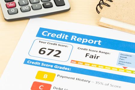 credit report: Fair credit score report with calculator