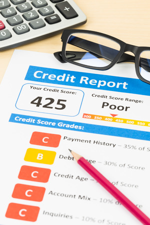 unacceptable: Poor credit score report with pen and calculator