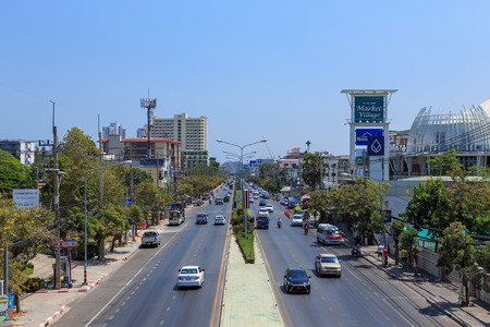 departmentstore: Hua Hin, Thailand - March 21, 2016: Phetkasem Road pass through Hua Hin city. This road is main route to southern part of Thailand.
