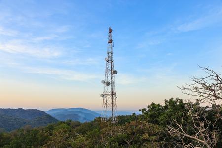 communication tower: Communication tower antenna on mountain at twilight Stock Photo