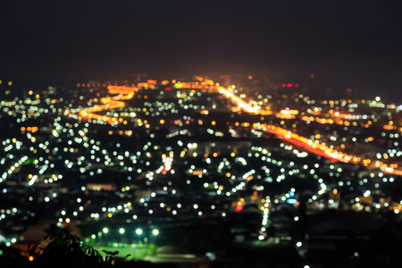 hua hin: Blurred city light from Hua Hin view point Stock Photo