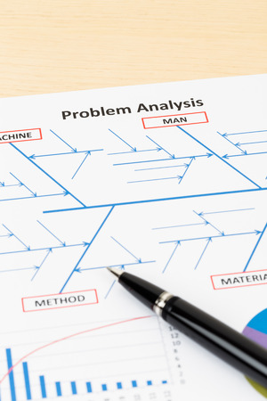 cause and effect: Problem solving using cause and effect or fishbone diagram with pen Stock Photo