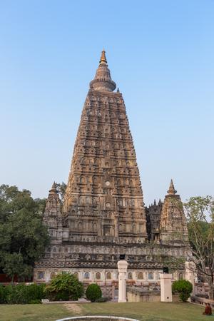 Mahabodhi temple near sun set, bodh gaya, India. Stock Photo