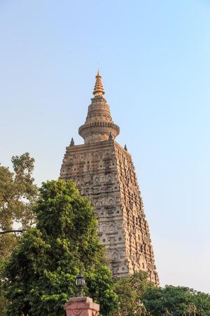 gaya: Mahabodhi pagoda near sun set, bodh gaya, India.