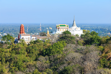 wang: Temple on mountain top at Khao Wang Palace, Petchaburi, Thailand Stock Photo