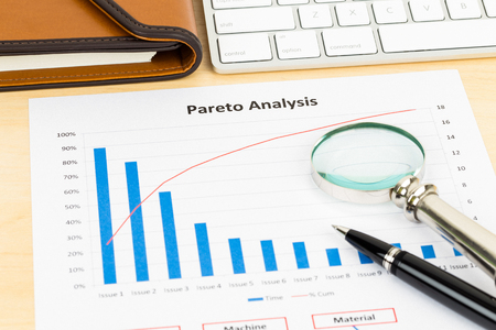 Pareto principle business analysis planning with pen, magnifier, and keyboard