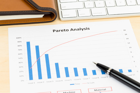 Pareto principle business analysis planning with pen, and keyboard