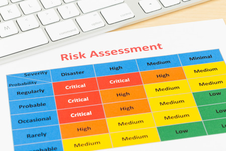 assessment system: Risk management matrix chart with pen and keyboard Stock Photo