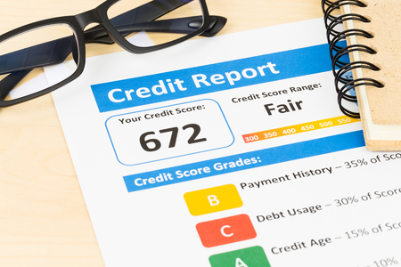 Fair credit score report with glasses