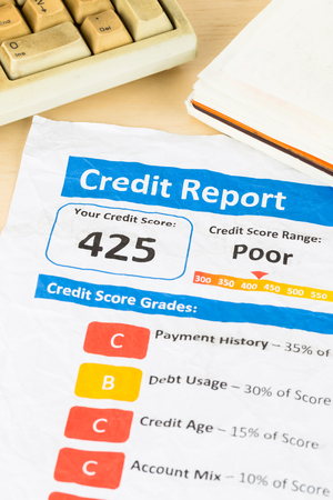 unacceptable: Poor credit score report on wrinkled paper with keyboard