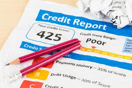 accounting records: Pobre informe de cr�dito en el papel arrugado con la pluma y la calculadora