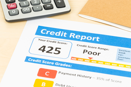 score: Poor credit score report with calculator Stock Photo