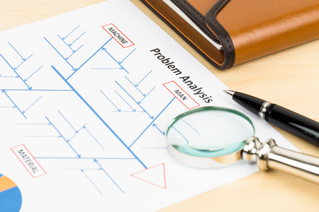 cause and effect: Problem solving using cause and effect or fishbone diagram with magnifier, pen, and organizer Stock Photo