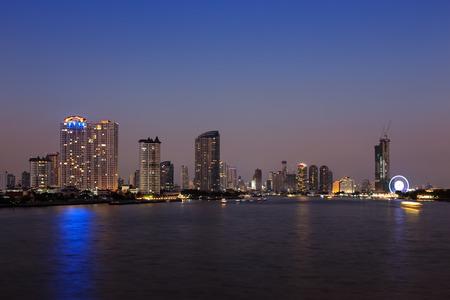 phraya: Chao phraya river and Bangkok cityscape at twilight