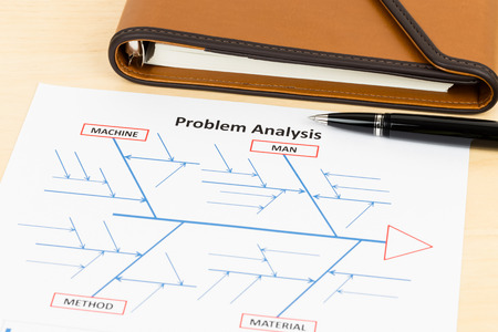 cause and effect: Problem solving using cause and effect or fishbone diagram with pen and organizer Stock Photo