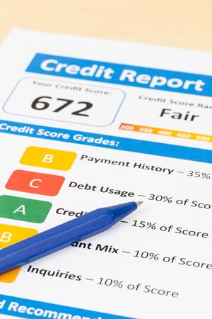 acceptable: Fair credit score report with pen