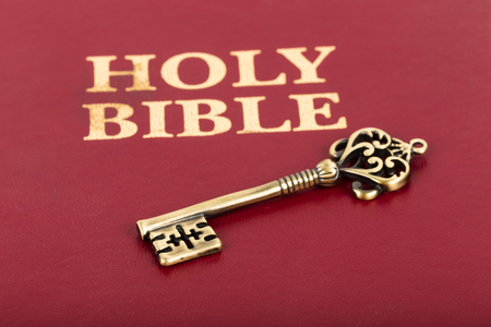 theology: Vintage key on holy bible cover concept theology study
