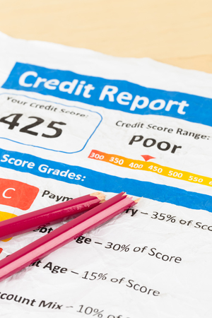 unacceptable: Poor credit score report on wrinkled paper with pen and calculator Stock Photo