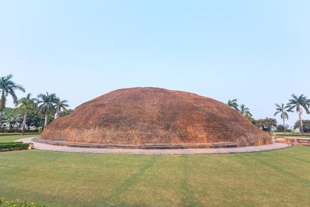 sarnath: Makutabandhana or Stupa of Alahana (Angara) near sun set, Buddhas cremation place, Kushinagar, India