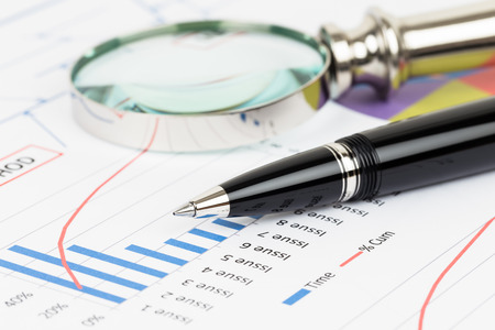 Pareto principle business analysis planning with pen and magnifier