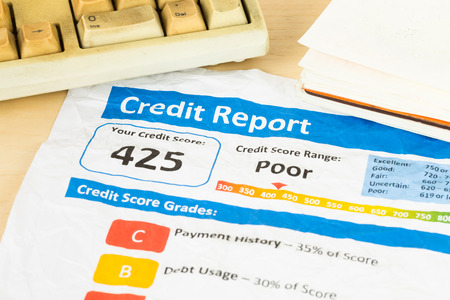 unacceptable: Poor credit score report on wrinkled paper with pen and keyboard