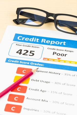 accounting records: Pobre informe de cr�dito con la pluma y la calculadora