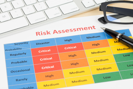 probability: Risk management matrix chart with pen and keyboard Stock Photo