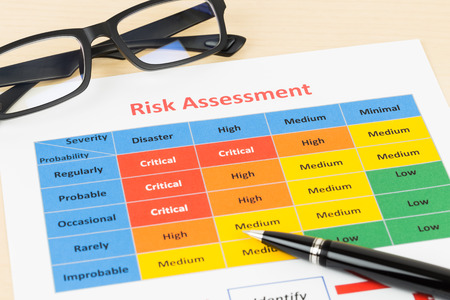 severity: Risk management matrix chart with pen and glasses