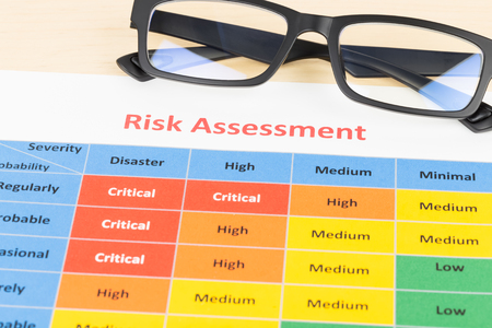 severity: Risk management matrix chart with glasses Stock Photo
