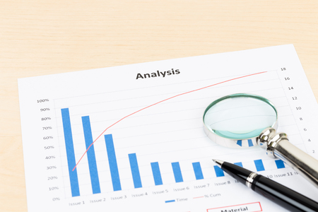 Business analysis planning with pen and magnifier
