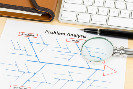 fishbone: Problem solving using cause and effect or fishbone diagram with organizer, pen, magnifier, and keyboard Stock Photo
