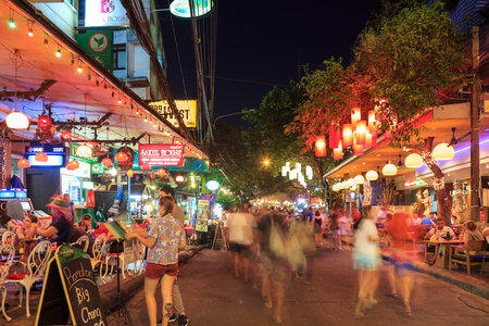 Bangkok, Thailand - February 13, 2016: Rambuttri alley, a popular food street close to Khaosan road.