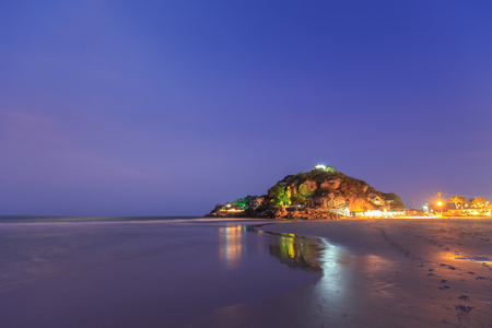 hua: Takiab beach and mountain near Hua Hin at night