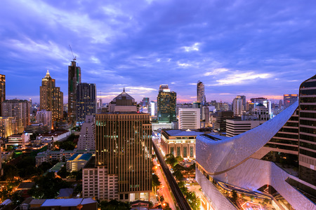 departmentstore: Ratchaprasong district in Bangkok at twilight Stock Photo