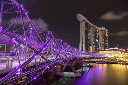 Singapore - December 1, 2016 : Helix Bridge, a  pedestrian bridge designed from form of the curved DNA structure. Editorial