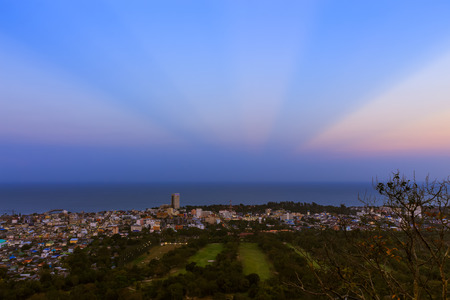 Hua Hin town from scenic point at twiligh
