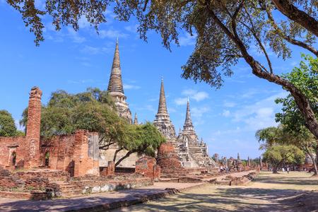 Three ancient pagoda at Phra Si Sanphet temple, Ayutthaya, Thailand Stock Photo