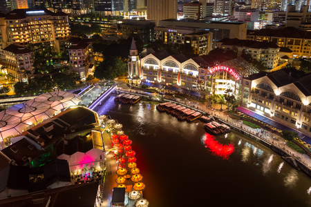 Singapore - December 1, 2016 : Clarke Quay is a historical riverside quay. Now, famous for dinner and night entertainment.