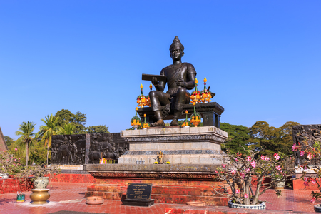king ramkhamhaeng: Sukhothai, Thailand - December 26, 2014:  Monument of King Ramkhamhaeng the Great in historical park