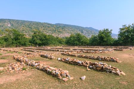 Ruin of Jivakamravana, monastery or temple build by Jivaka Kumar Bhaccha, situate at ancient Rajgir, Bihar, India