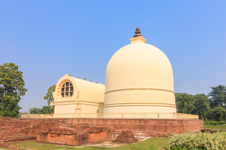 sarnath: Parinirvana Stupa and temple, Kushinagar, India