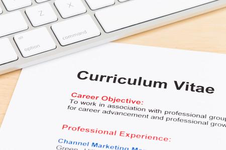 Curriculum vitae and keyboard Stock Photo