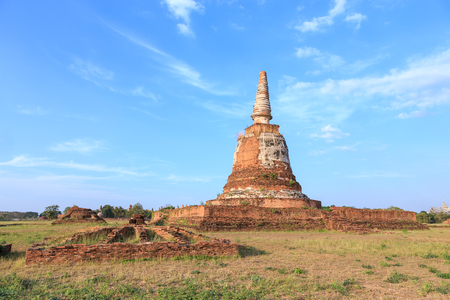 An ancient pagoda in meadow, Ayutthaya, Thailand