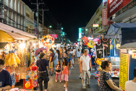 Hua Hin, Thailand - March 11, 2017: Night street market famous for tourist