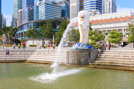 Singapore - December 4, 2016 : Merlion at Marina Bay, symbol of Singapore. It is  a mythical creature with lion head and body of fish.