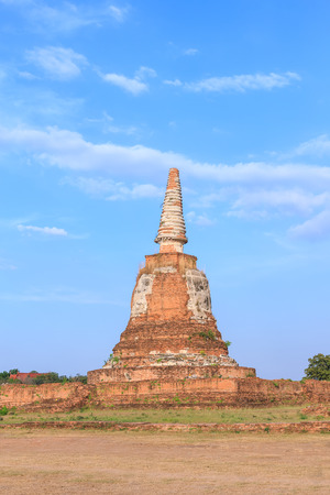An ancient pagoda in meadow, Ayutthaya, Thailand
