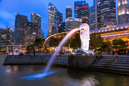 Singapore - December 1, 2016 : Merlion at Marina Bay, symbol of Singapore. It is  a mythical creature with lion head and body of fish.