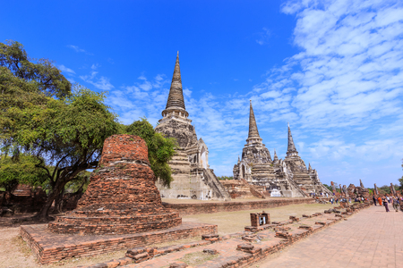 Three ancient pagoda at Phra Si Sanphet temple, Ayutthaya, Thailand Editorial