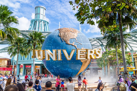 Sentosa, Singapore - December 2, 2016: Universal Studios globe located in front of the theme park. One of famous theme park in Southeast Asia.