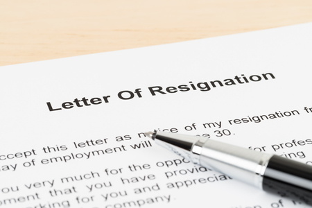 Resignation letter resign with pen